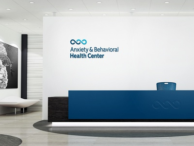 Anxiety & Behavioral Health Center Office Signage environmental graphics office signage office design signage wave blue b a ambigram mental health healthcare logo healthcare identity brand design branding brand logo design logo