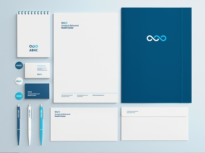Anxiety & Behavioral Health Center Stationery Suite letterhead design business card design stationery stationery design identity ambigram wave b a mental health healthcare logo healthcare branding design branding brand logo design logo