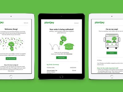 Plantjoy Customer Engagnement Emails tablet design plants planting plant illustration ecommerce design ecommerce email design email marketing design branding brand