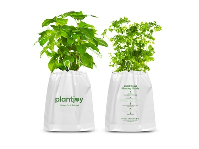 Plantjoy Delivery Packaging tissue paper tape bag design box design planting plants plant packaging design packaging design branding design branding brand
