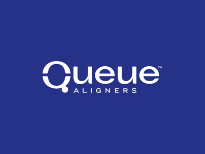 Queue™ Aligners Logo blue and white white orthodontist orthodontics aligners q queue blue design identity brand identity branding brand logotype logo design logo