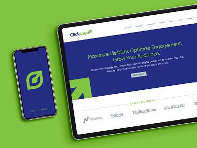Clickseed Website website design design branding logo green