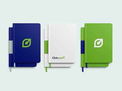Clickseed Moleskins notebook cover notebook moleskin identity branding logo green