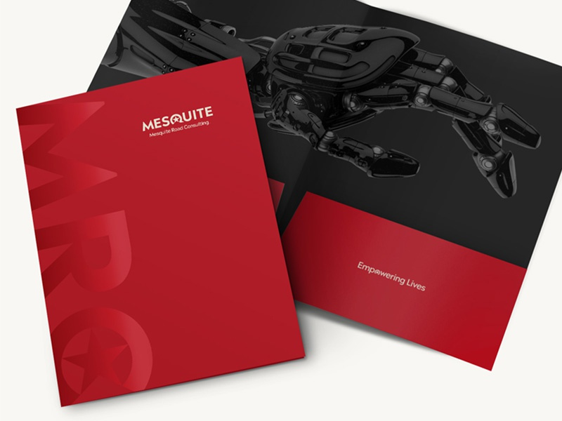 Mesquite Road Consulting Presentation Folder typography consulting firm consulting maryland design identity logo print design branding brand black red folder presentation folder collateral printing print