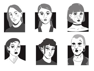 Faces sketch girl faces digital art illustration
