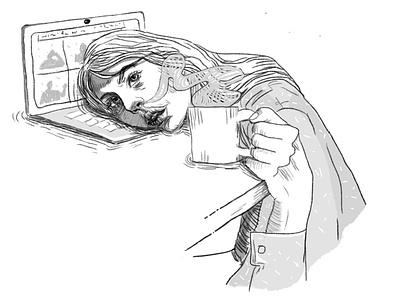 Friday notebook face sketch work girl coffe illustration