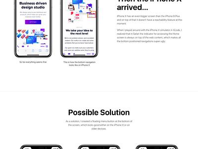 iPhone X Web Navigation Idea navigation ux ui principle sketch concept inspiration design muzli iphone x ios web