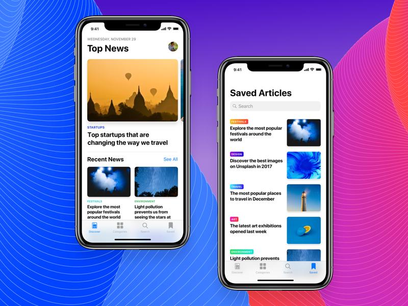 News App Concept ios 11 looper news mobile ux ui iphone x ios app sketch muzli inspiration