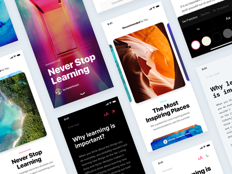 News App Concept Template — InVision Studio typography article story card concept prototype kit ui studio invision news app