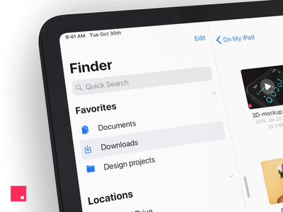 Source files collection - Finder for iPad Concept video animation app concept ipad ipad pro files finder invision invisionapp invisionstudio invision studio interaction ui ux prototype studio interaction design dark dark mode