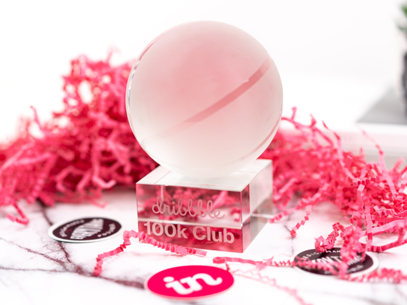 100k Club! thankyou trophy dribbble crystal basketball ball 100k