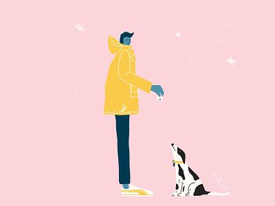 His yellow raincoat ui branding design vector flat minimal illustrator graphic design illustration