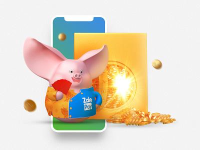 "ZaloPay - ""Tet"" Campaign 2019 - ""Heo Chiêu Tài"" Level 5 visual lunar new year illustration ui deisgn 3d character vietnam"