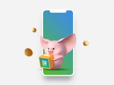 "ZaloPay - ""Tet"" Campaign 2019 - ""Heo Chiêu Tài"" Level 1 visual lunar new year illustration ui deisgn 3d character vietnam"