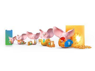 "ZaloPay - ""Tet"" Campaign 2019 - ""Heo Chiêu Tài"" vietnam character 3d ui deisgn illustration lunar new year visual"