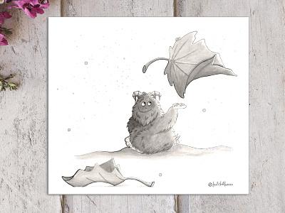 Small, fluffy and scruffy monster. inktober autumn leaves monster book children