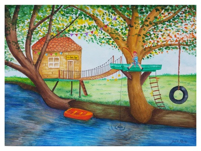 My Happy Place watercolour tree river boat fishing garden children book