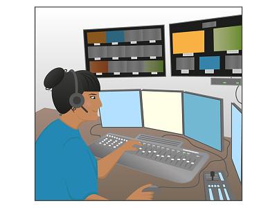 The Editor tv media broadcasters illustrator illustration editor