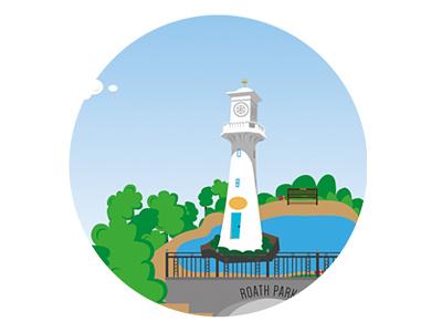Roath Park, Cardiff illustration lighthouse park