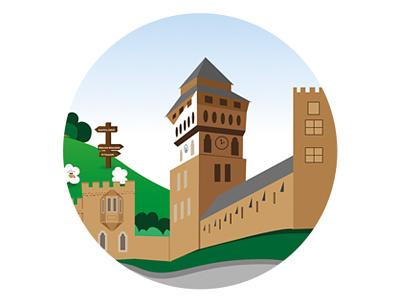Cardiff Castle illustration castle