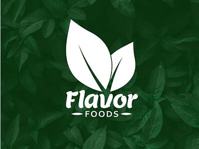 Food Logo minimal logo icon graphic design flat branding design leaves leaves logo flavor foods foood logo organic food food