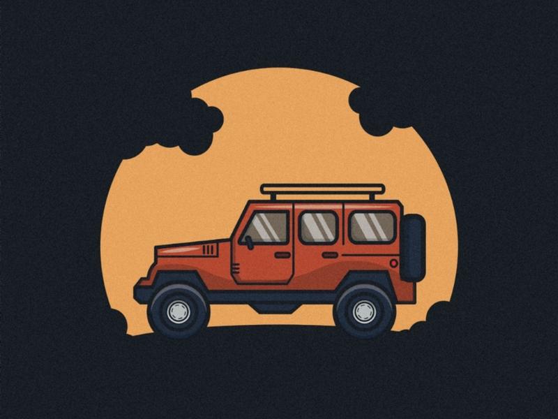 Jeep vector minimal flat design illustration