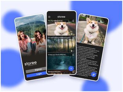 Storee - a place to share your real life stories. script text lets not meet life style lifestyle real life experience storytelling story blue illustration figmadesign app design social figma ux android app ui app