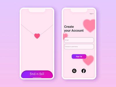 Find n Fall - Dating app sign-up page 💕 relationship 001 daily ui dailyuichallenge dailyui dating app dating app design social figmadesign figma android app ux ui app