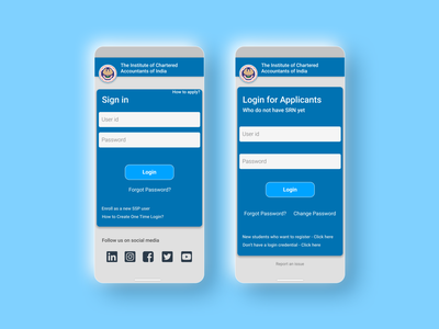 ICAI SSP - Login Page Redesign sign in login mobile web design mobile website design mobile website webdesign india ca chartered accountant icai login page website figmadesign figma ux ui app