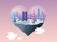 Futuristic City   Dribbble train technology stars space magnetic heart futuristic floating city dome clouds buildings bubble