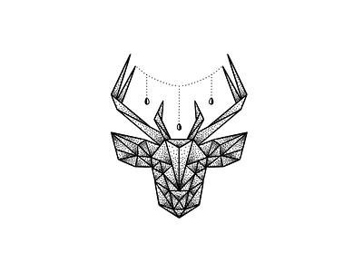 Geometric deer stipple art dotwork polygon art line drawing inkdrawing black and white deer geometric art pointilism