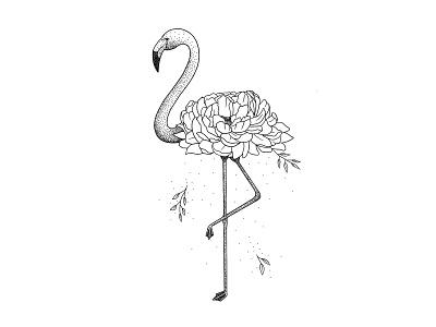Flamingo floral peony flamingo stipple art pointilism dotwork black and white