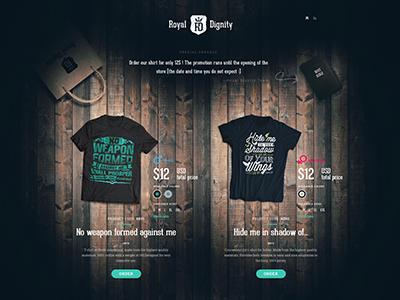 RoyalDignity landing shop page landing page tshirt wood web design