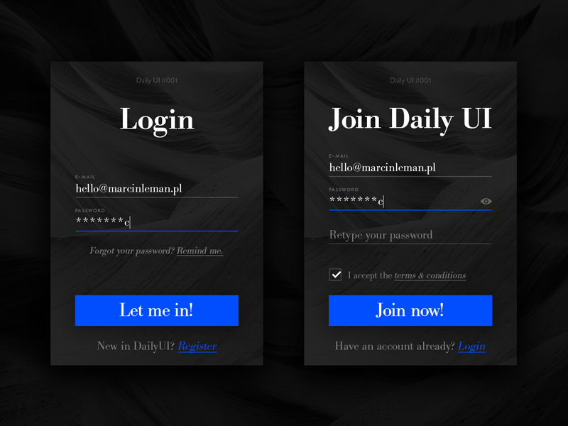Sign Up form, Daily UI #001 dailyui app up in sign sign-up register login sign-in ui daily-ui 001