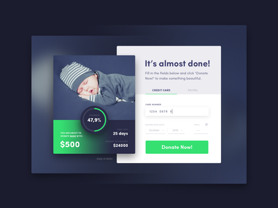 Credit Card Checkout, Daily UI #002 dailyui ui form charity payment credit card daily-ui app 002