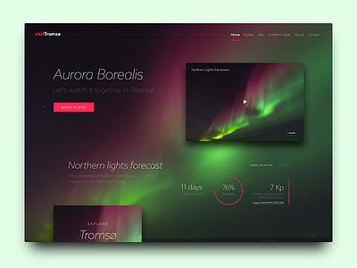 Daily UI #003, Landing Page dailyui borealis aurora lights northern landingpage landing-page ui daily-ui 003