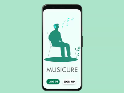 MUSICURE app signup page mobile ui ux ui design