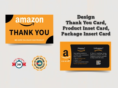 Custom Design Amazon Thank You Card postcards gift card package cards insert product card you thank amazon package insert card product insert card product insert amazon thank you card thank you card promotion design branding