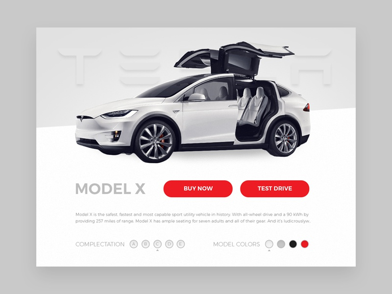 Tesla online store concept web tesla typography shopping car design clean element interface ui challenge ecommerce