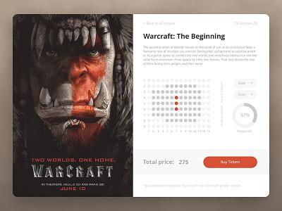 Movie Tickets booking page shop booking creative cinema film nice designer challenge ui tickets movie warcraft