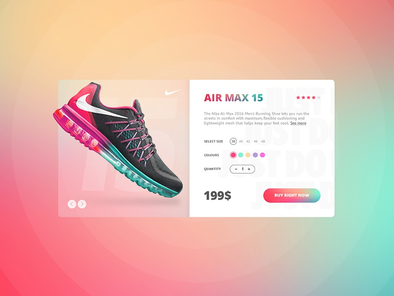 Nike store concept store ecommerce color colorful shoes sport product card max air ui design
