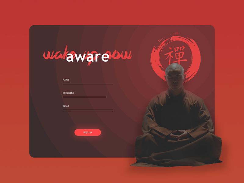 Sign Up card input form site button monk meditation designer challenge ui card design signup