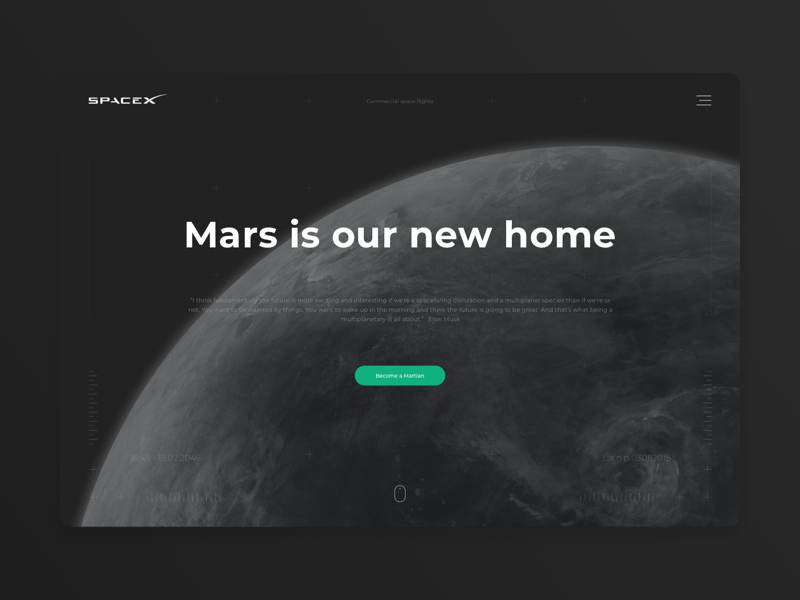SpaceX promo page concept mars ux designer design musk elon spacex challenge space ui