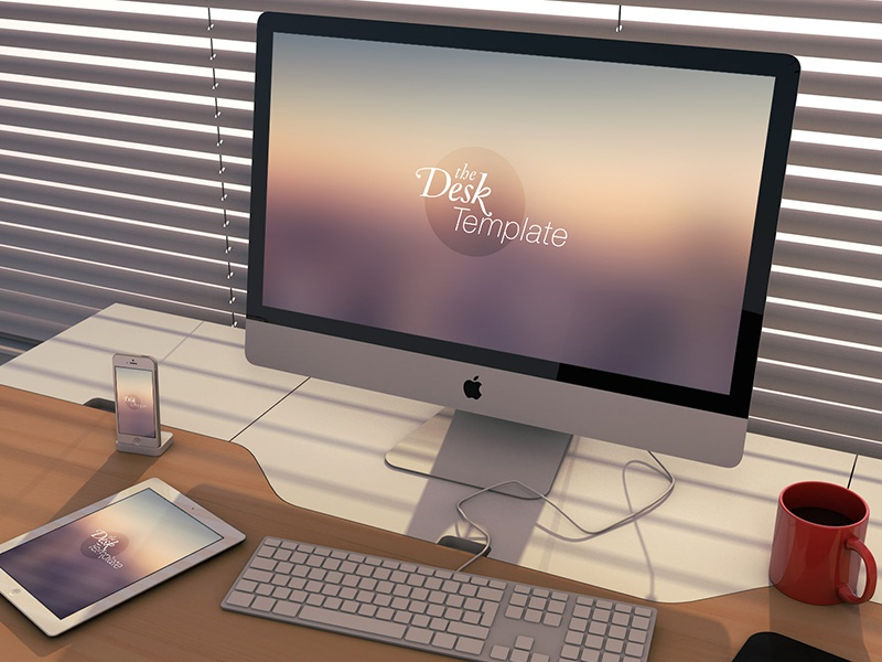 The Desk Template PSD iphone ipad imac template psd photoshop 3d workspace desk download psddd