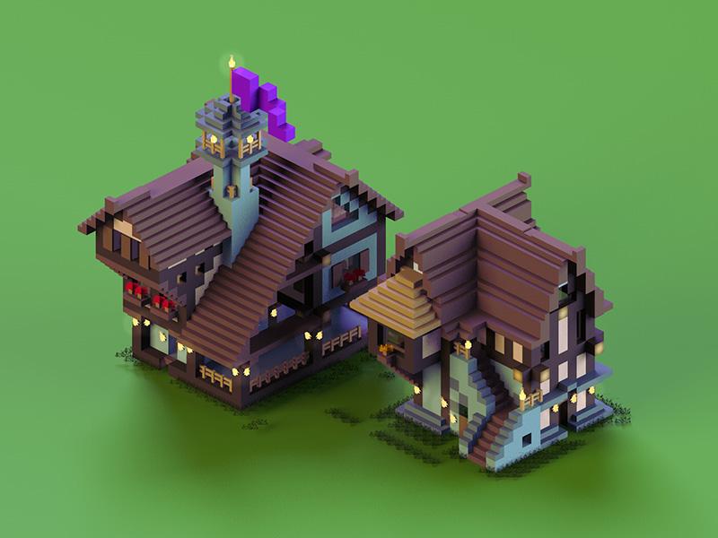 Medieval Houses minecraft medieval build cube 3d render grass flag cinema 4d