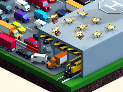 Beerlandia — Vehicles theme park map factory production delivery drone beer cinema 4d 3d low poly