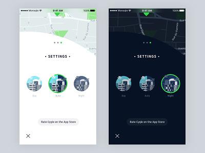 Cyqle Themes ux ui dark light menu night day theme settings mobile app