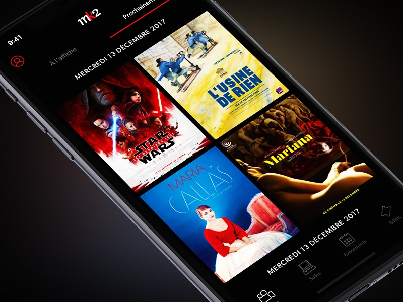 mk2 — Movies iphone x star wars poster mobile ux ui dark theatre paris app cinema