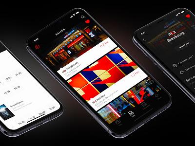 Artwork Theaters cinema app paris theatre dark ui ux mobile iphone x