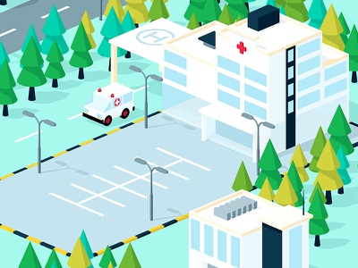 Hospital illustration isometric building parking ambulance landscape cinema 4d 3d hospital